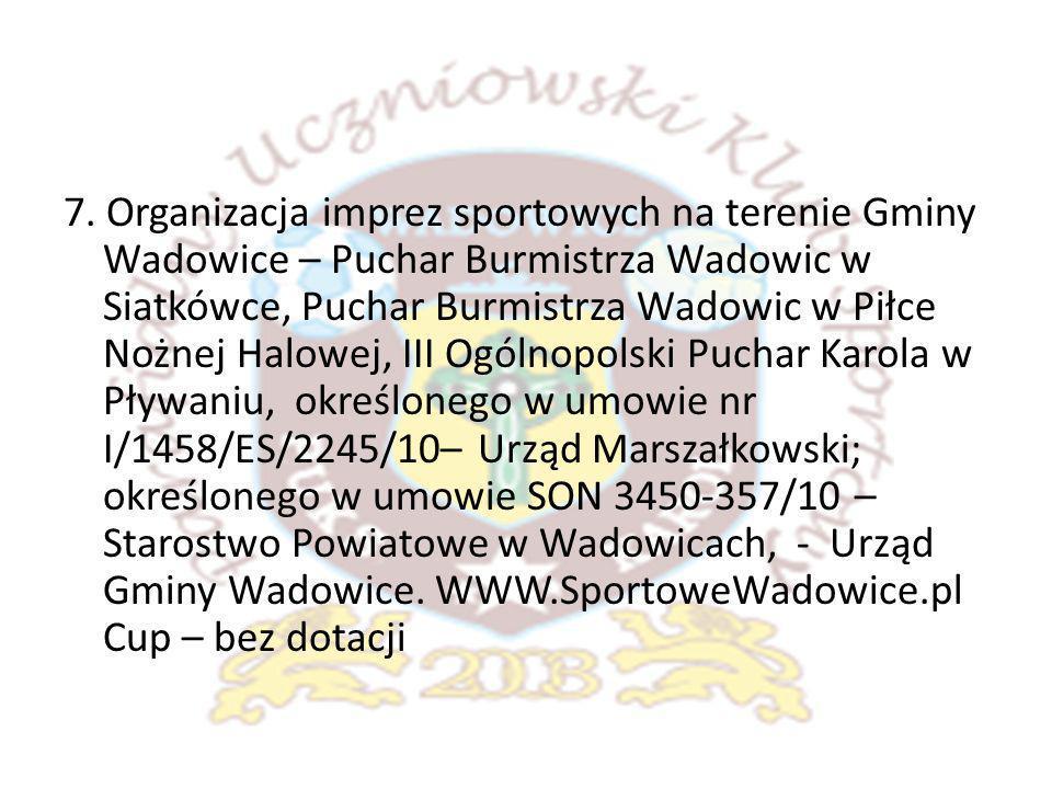 7. Organizacja imprez sportowych na terenie Gminy Wadowice – Puchar Burmistrza Wadowic w Siatkówce, Puchar Burmistrza Wadowic w Piłce Nożnej Halowej,