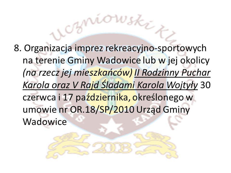 8. Organizacja imprez rekreacyjno-sportowych na terenie Gminy Wadowice lub w jej okolicy (na rzecz jej mieszkańców) II Rodzinny Puchar Karola oraz V R