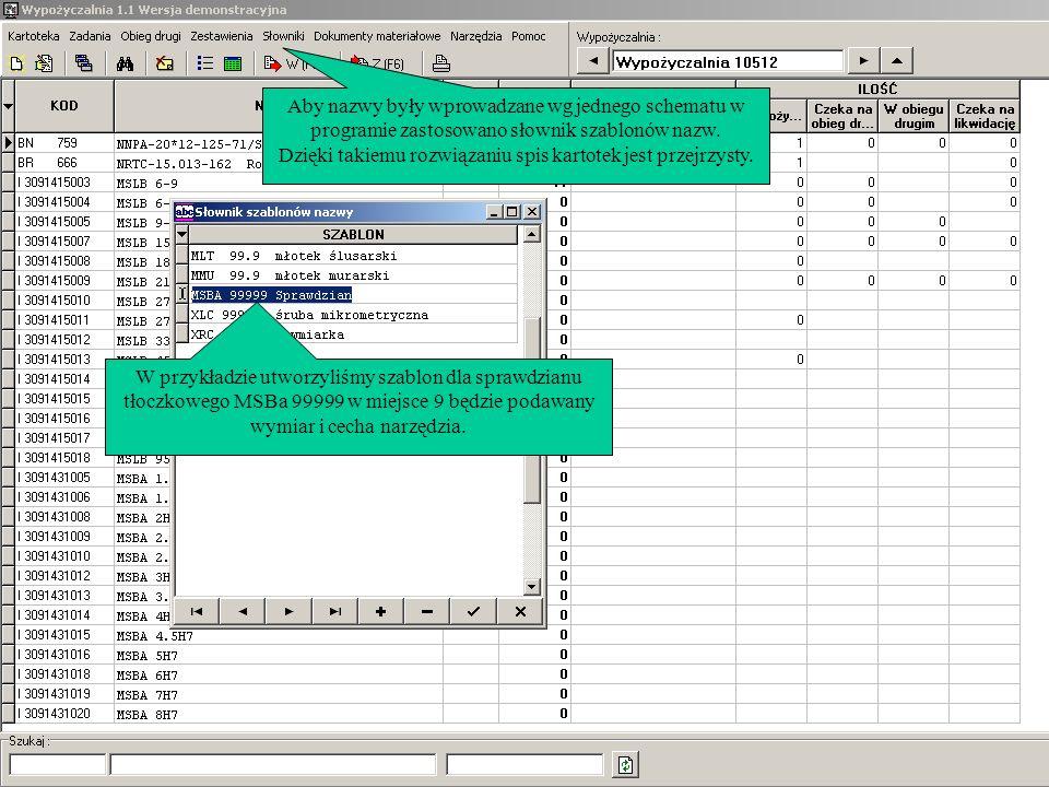Aby nazwy były wprowadzane wg jednego schematu w programie zastosowano słownik szablonów nazw. Dzięki takiemu rozwiązaniu spis kartotek jest przejrzys