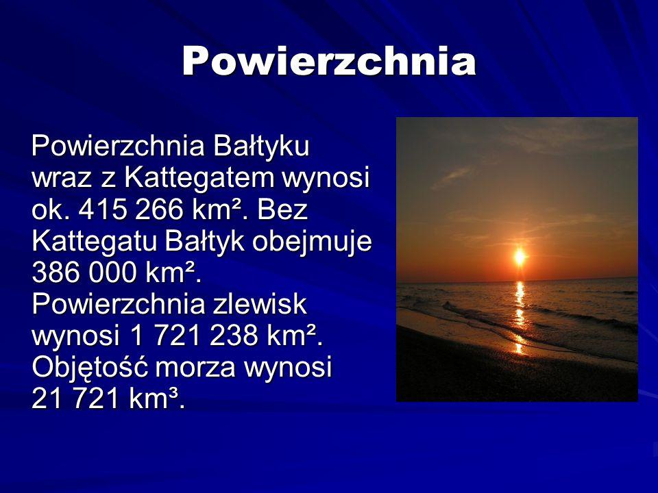 Powierzchnia Powierzchnia Bałtyku wraz z Kattegatem wynosi ok. 415 266 km². Bez Kattegatu Bałtyk obejmuje 386 000 km². Powierzchnia zlewisk wynosi 1 7