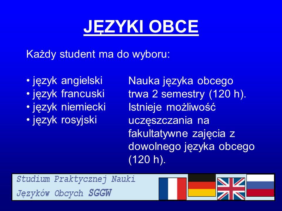 JĘZYKI OBCE Każdy student ma do wyboru: język angielski język francuski język niemiecki język rosyjski Nauka języka obcego trwa 2 semestry (120 h).
