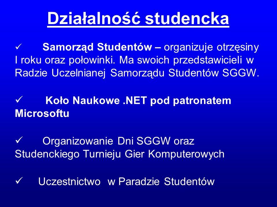 Samorząd Studentów – organizuje otrzęsiny I roku oraz połowinki. Ma swoich przedstawicieli w Radzie Uczelnianej Samorządu Studentów SGGW. Koło Naukowe