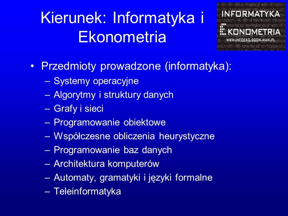 Kierunek: Informatyka i Ekonometria Przedmioty prowadzone (informatyka): –Systemy operacyjne –Algorytmy i struktury danych –Grafy i sieci –Programowanie obiektowe –Współczesne obliczenia heurystyczne –Programowanie baz danych –Architektura komputerów –Automaty, gramatyki i języki formalne –Teleinformatyka