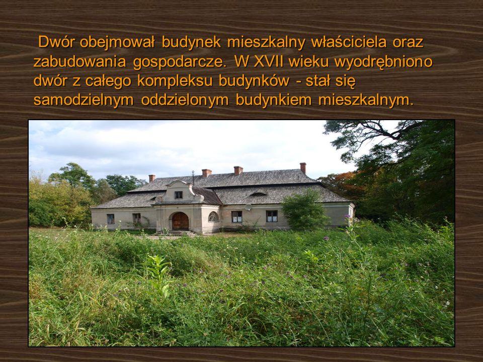 Dwór obejmował budynek mieszkalny właściciela oraz zabudowania gospodarcze. W XVII wieku wyodrębniono dwór z całego kompleksu budynków - stał się samo