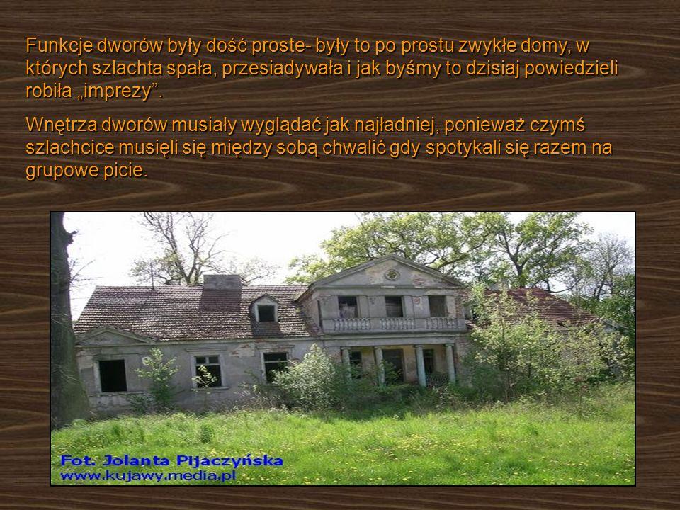 Funkcje dworów były dość proste- były to po prostu zwykłe domy, w których szlachta spała, przesiadywała i jak byśmy to dzisiaj powiedzieli robiła impr
