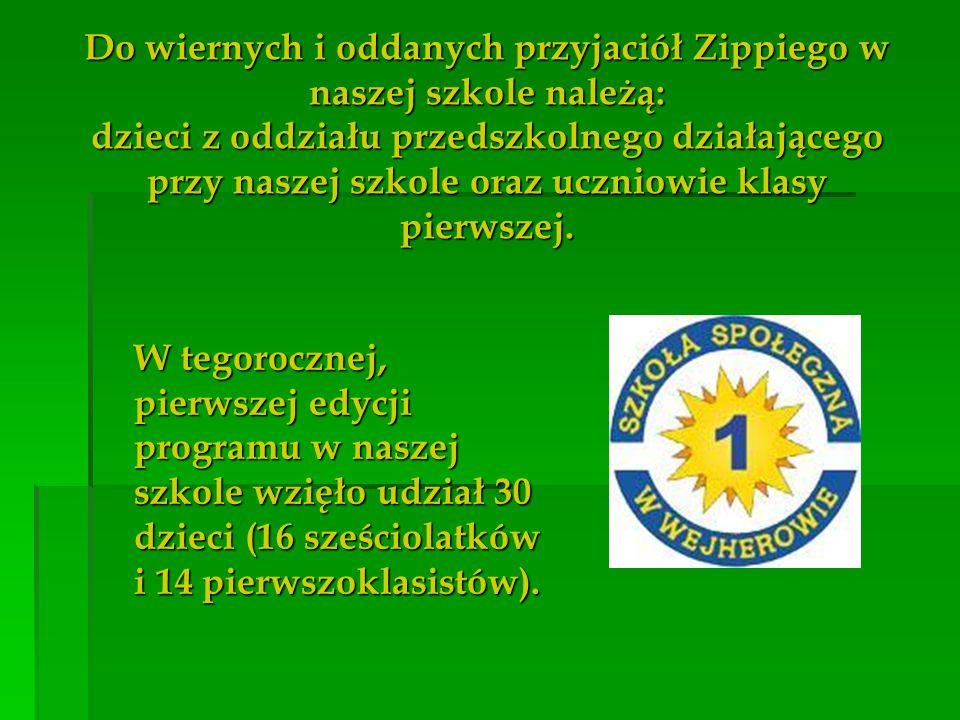 Do wiernych i oddanych przyjaciół Zippiego w naszej szkole należą: dzieci z oddziału przedszkolnego działającego przy naszej szkole oraz uczniowie kla