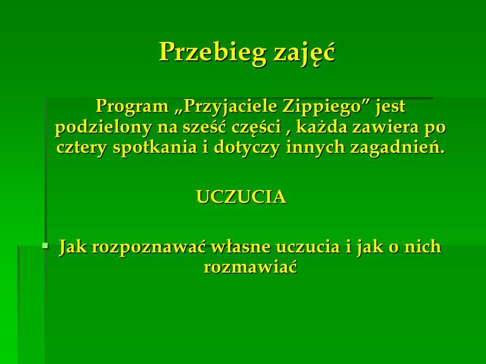 Przebieg zajęć Program Przyjaciele Zippiego jest podzielony na sześć części, każda zawiera po cztery spotkania i dotyczy innych zagadnień. UCZUCIA Jak