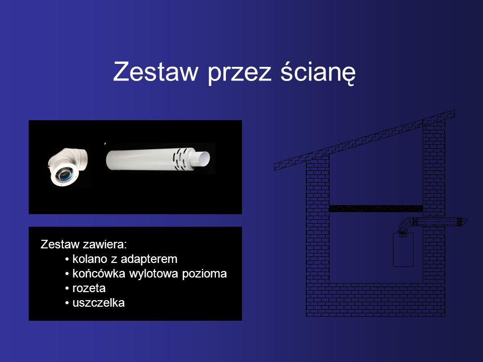Zestaw przez ścianę Zestaw zawiera: kolano z adapterem końcówka wylotowa pozioma rozeta uszczelka