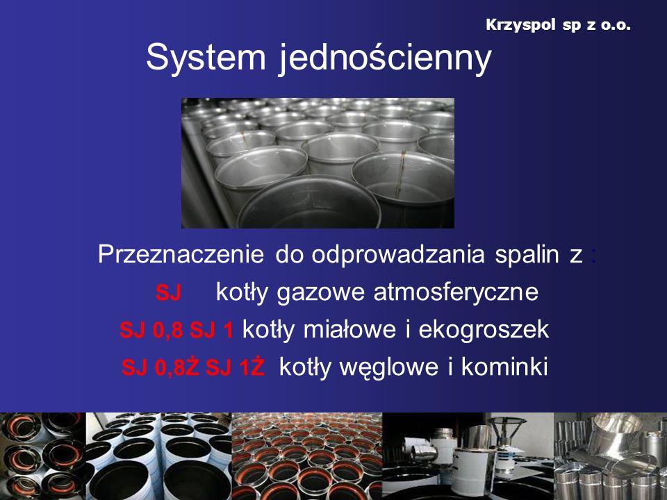 System jednościenny Przeznaczenie do odprowadzania spalin z : SJ kotły gazowe atmosferyczne SJ 0,8 SJ 1 kotły miałowe i ekogroszek SJ 0,8Ż SJ 1Ż kotły