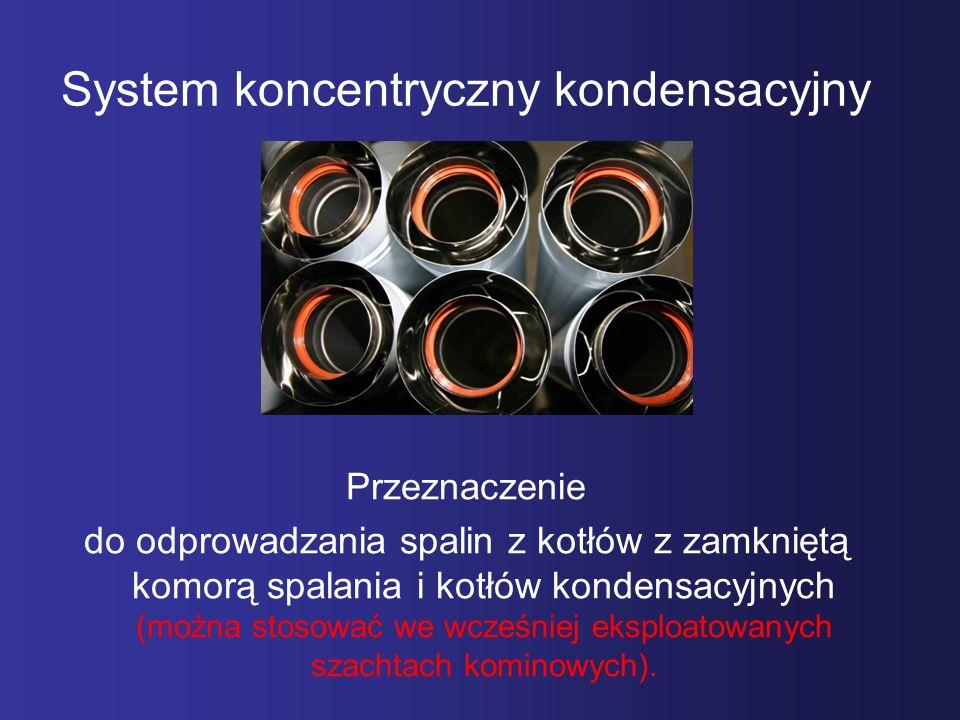 System koncentryczny kondensacyjny Przeznaczenie do odprowadzania spalin z kotłów z zamkniętą komorą spalania i kotłów kondensacyjnych (można stosować