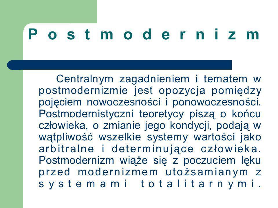 Postmodernizm Centralnym zagadnieniem i tematem w postmodernizmie jest opozycja pomiędzy pojęciem nowoczesności i ponowoczesności. Postmodernistyczni