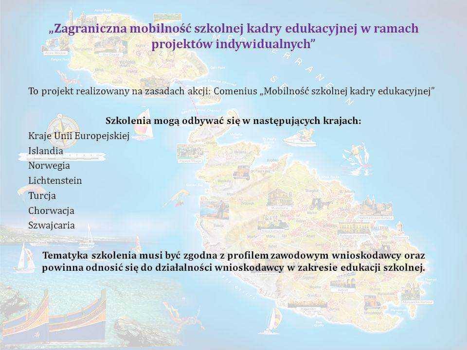 Zagraniczna mobilność szkolnej kadry edukacyjnej w ramach projektów indywidualnych To projekt realizowany na zasadach akcji: Comenius Mobilność szkoln