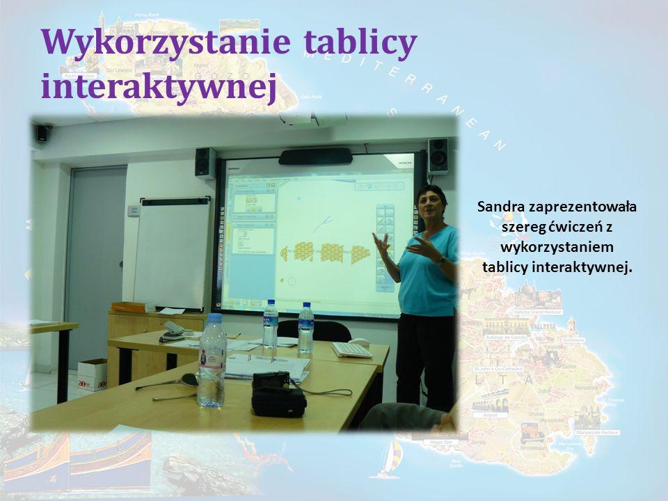 Wykorzystanie tablicy interaktywnej Sandra zaprezentowała szereg ćwiczeń z wykorzystaniem tablicy interaktywnej.