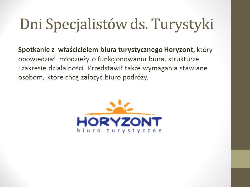 Spotkanie z właścicielem biura turystycznego Horyzont, który opowiedział młodzieży o funkcjonowaniu biura, strukturze i zakresie działalności.