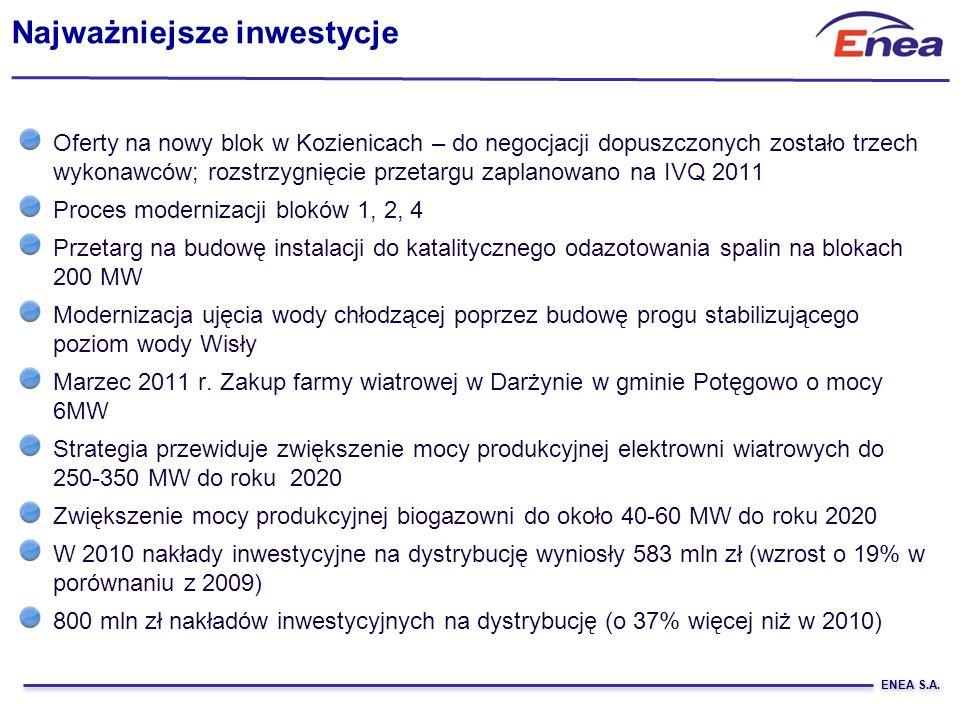 ENEA S.A. Oferty na nowy blok w Kozienicach – do negocjacji dopuszczonych zostało trzech wykonawców; rozstrzygnięcie przetargu zaplanowano na IVQ 2011