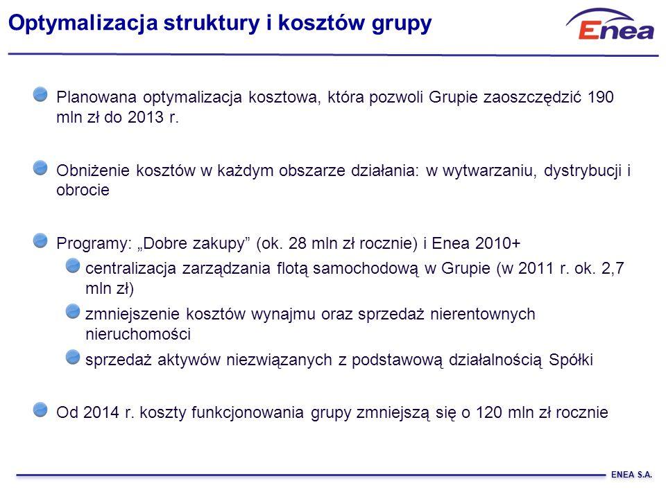 ENEA S.A. Planowana optymalizacja kosztowa, która pozwoli Grupie zaoszczędzić 190 mln zł do 2013 r. Obniżenie kosztów w każdym obszarze działania: w w