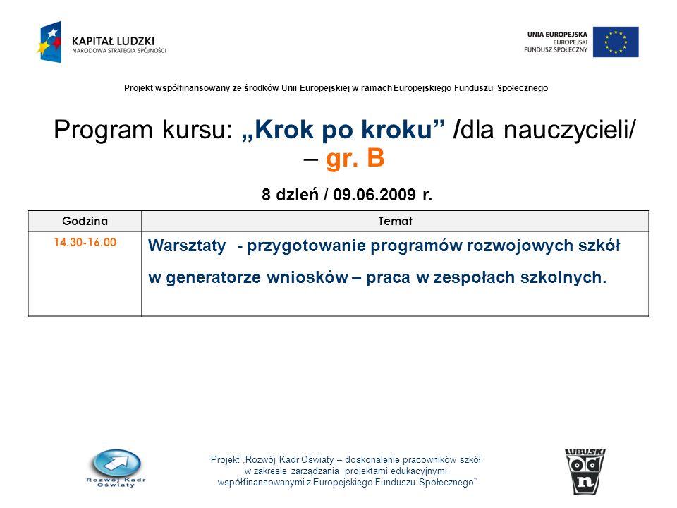 Projekt Rozwój Kadr Oświaty – doskonalenie pracowników szkół w zakresie zarządzania projektami edukacyjnymi współfinansowanymi z Europejskiego Funduszu Społecznego Projekt współfinansowany ze środków Unii Europejskiej w ramach Europejskiego Funduszu Społecznego Program kursu: Krok po kroku /dla nauczycieli/ – gr.