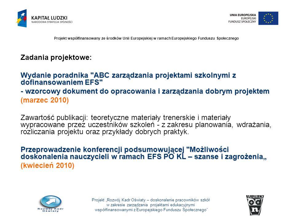 Projekt Rozwój Kadr Oświaty – doskonalenie pracowników szkół w zakresie zarządzania projektami edukacyjnymi współfinansowanymi z Europejskiego Funduszu Społecznego Projekt współfinansowany ze środków Unii Europejskiej w ramach Europejskiego Funduszu Społecznego Zadania projektowe: Wydanie poradnika ABC zarządzania projektami szkolnymi z dofinansowaniem EFS - wzorcowy dokument do opracowania i zarządzania dobrym projektem (marzec 2010) Zawartość publikacji: teoretyczne materiały trenerskie i materiały wypracowane przez uczestników szkoleń - z zakresu planowania, wdrażania, rozliczania projektu oraz przykłady dobrych praktyk.