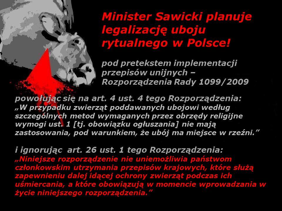 Minister Sawicki planuje legalizację uboju rytualnego w Polsce! pod pretekstem implementacji przepisów unijnych – Rozporządzenia Rady 1099/2009 powołu