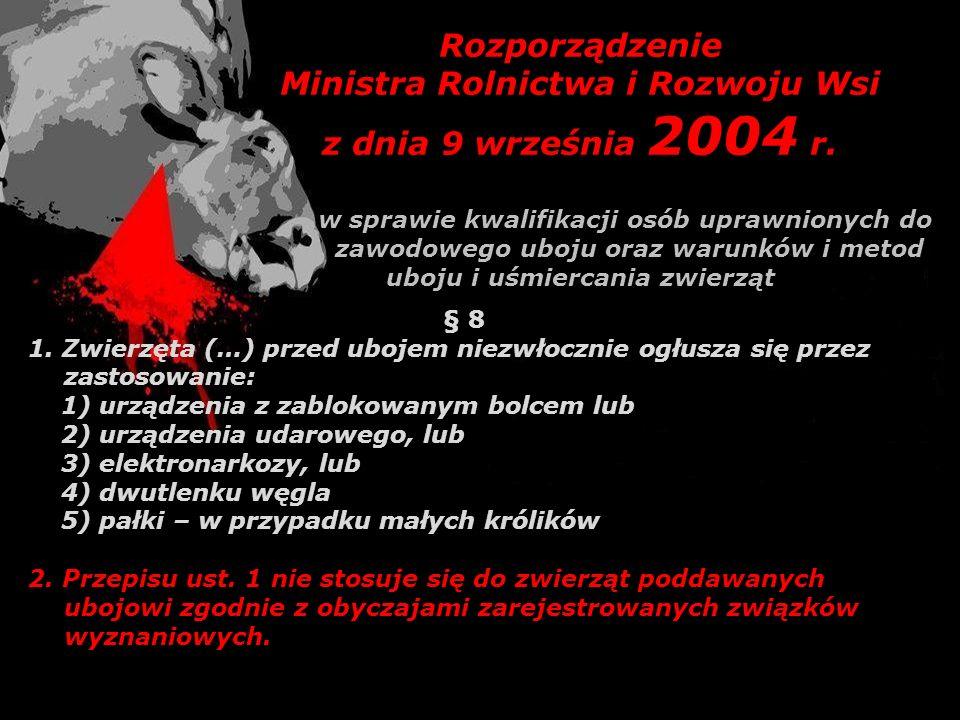 Rozporządzenie Ministra Rolnictwa i Rozwoju Wsi z dnia 9 września 2004 r. w sprawie kwalifikacji osób uprawnionych do zawodowego uboju oraz warunków i