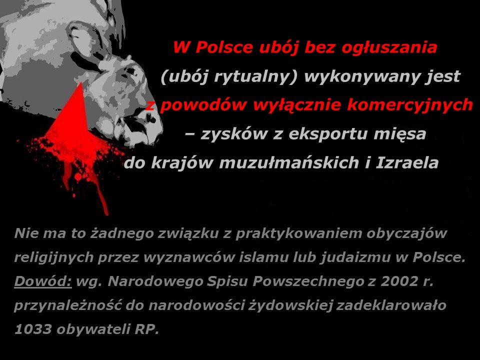 W Polsce ubój bez ogłuszania (ubój rytualny) wykonywany jest z powodów wyłącznie komercyjnych – zysków z eksportu mięsa do krajów muzułmańskich i Izra