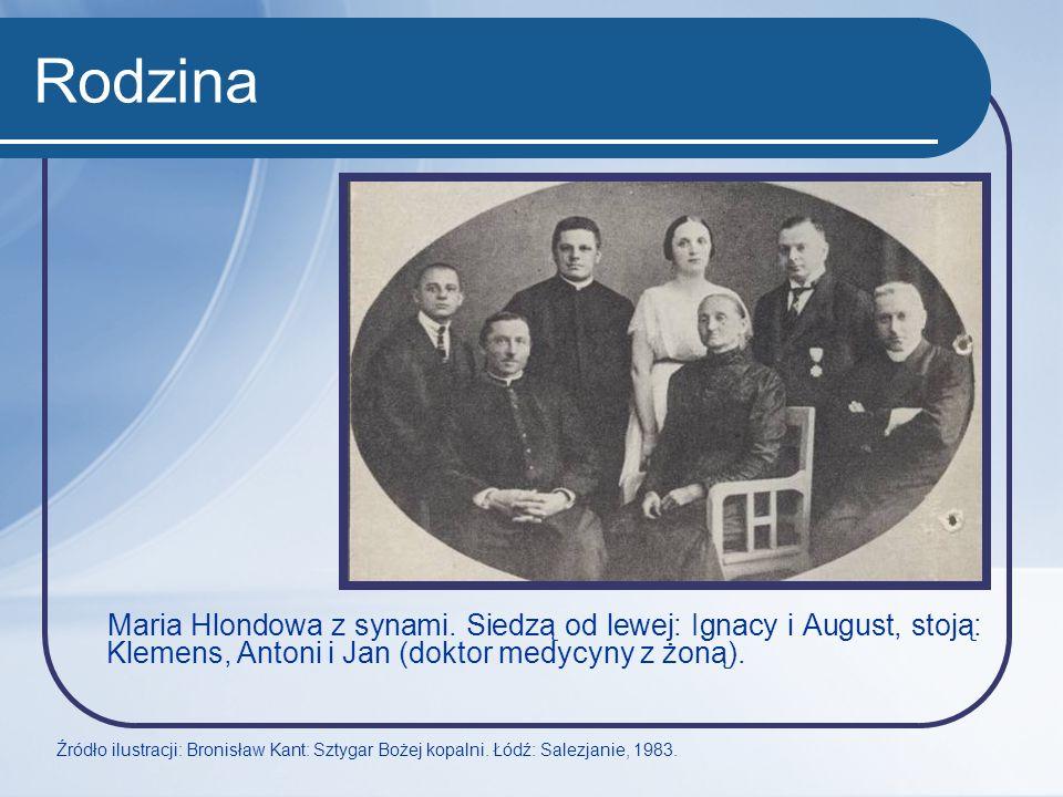 Rodzina Maria Hlondowa z synami. Siedzą od lewej: Ignacy i August, stoją: Klemens, Antoni i Jan (doktor medycyny z żoną). Źródło ilustracji: Bronisław
