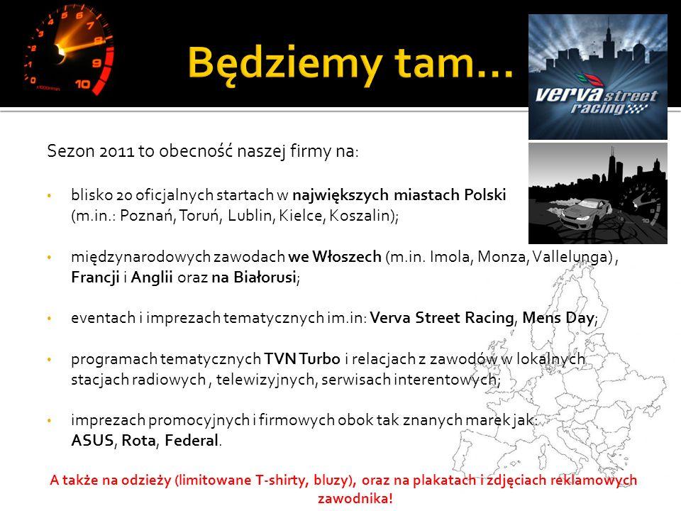 Sezon 2011 to obecność naszej firmy na: blisko 20 oficjalnych startach w największych miastach Polski (m.in.: Poznań, Toruń, Lublin, Kielce, Koszalin); międzynarodowych zawodach we Włoszech (m.in.