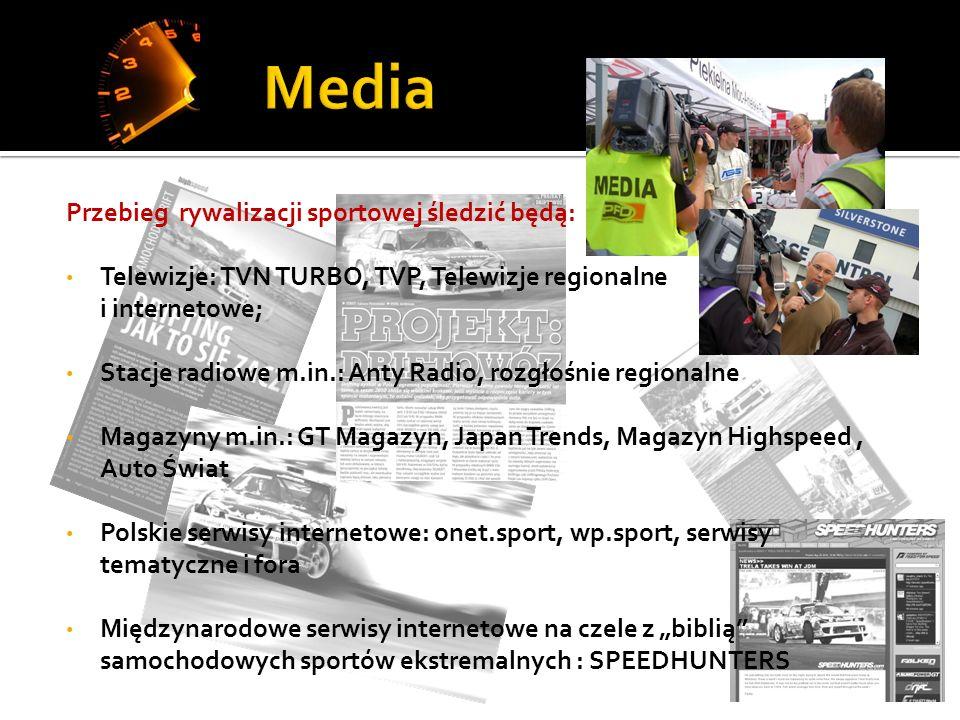 Przebieg rywalizacji sportowej śledzić będą: Telewizje: TVN TURBO, TVP, Telewizje regionalne i internetowe; Stacje radiowe m.in.: Anty Radio, rozgłośnie regionalne Magazyny m.in.: GT Magazyn, Japan Trends, Magazyn Highspeed, Auto Świat Polskie serwisy internetowe: onet.sport, wp.sport, serwisy tematyczne i fora Międzynarodowe serwisy internetowe na czele z biblią samochodowych sportów ekstremalnych : SPEEDHUNTERS
