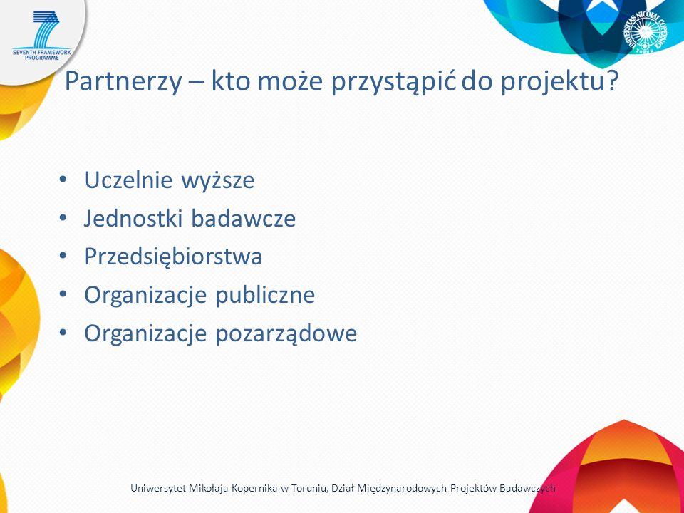 Partnerzy – kto może przystąpić do projektu? Uczelnie wyższe Jednostki badawcze Przedsiębiorstwa Organizacje publiczne Organizacje pozarządowe Uniwers
