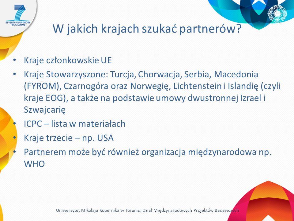 W jakich krajach szukać partnerów? Kraje członkowskie UE Kraje Stowarzyszone: Turcja, Chorwacja, Serbia, Macedonia (FYROM), Czarnogóra oraz Norwegię,