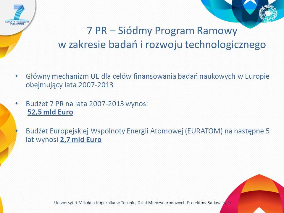 7 PR – Siódmy Program Ramowy w zakresie badań i rozwoju technologicznego Główny mechanizm UE dla celów finansowania badań naukowych w Europie obejmujący lata 2007-2013 Budżet 7 PR na lata 2007-2013 wynosi 52,5 mld Euro Budżet Europejskiej Wspólnoty Energii Atomowej (EURATOM) na następne 5 lat wynosi 2,7 mld Euro Uniwersytet Mikołaja Kopernika w Toruniu, Dział Międzynarodowych Projektów Badawczych