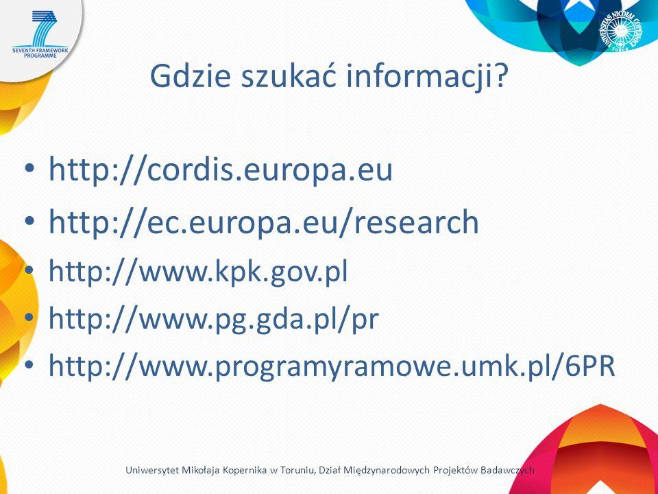 Gdzie szukać informacji? http://cordis.europa.eu http://ec.europa.eu/research http://www.kpk.gov.pl http://www.pg.gda.pl/pr http://www.programyramowe.