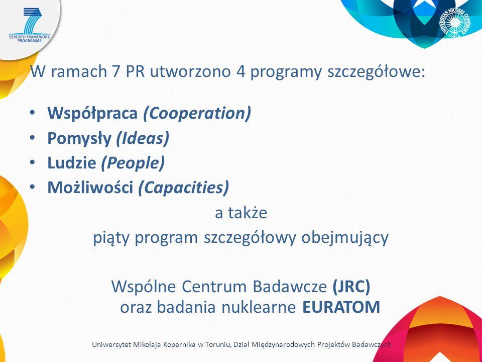 W ramach 7 PR utworzono 4 programy szczegółowe: Współpraca (Cooperation) Pomysły (Ideas) Ludzie (People) Możliwości (Capacities) a także piąty program szczegółowy obejmujący Wspólne Centrum Badawcze (JRC) oraz badania nuklearne EURATOM Uniwersytet Mikołaja Kopernika w Toruniu, Dział Międzynarodowych Projektów Badawczych