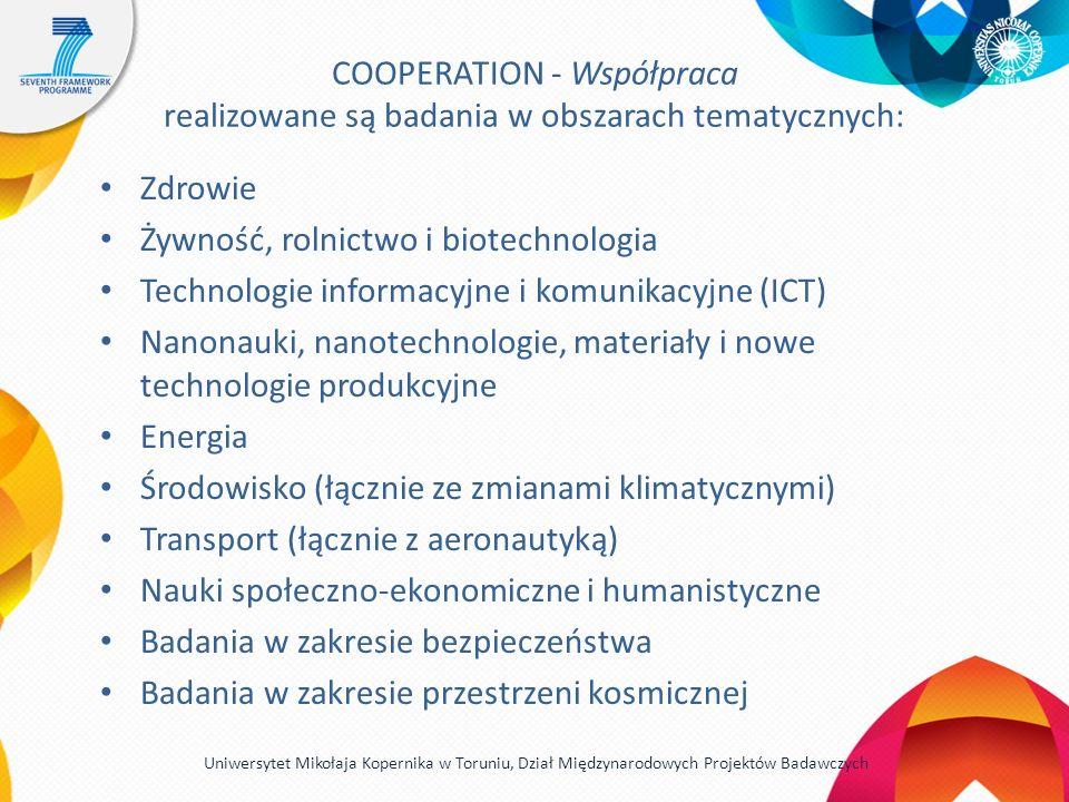 COOPERATION - Współpraca realizowane są badania w obszarach tematycznych: Zdrowie Żywność, rolnictwo i biotechnologia Technologie informacyjne i komunikacyjne (ICT) Nanonauki, nanotechnologie, materiały i nowe technologie produkcyjne Energia Środowisko (łącznie ze zmianami klimatycznymi) Transport (łącznie z aeronautyką) Nauki społeczno-ekonomiczne i humanistyczne Badania w zakresie bezpieczeństwa Badania w zakresie przestrzeni kosmicznej Uniwersytet Mikołaja Kopernika w Toruniu, Dział Międzynarodowych Projektów Badawczych