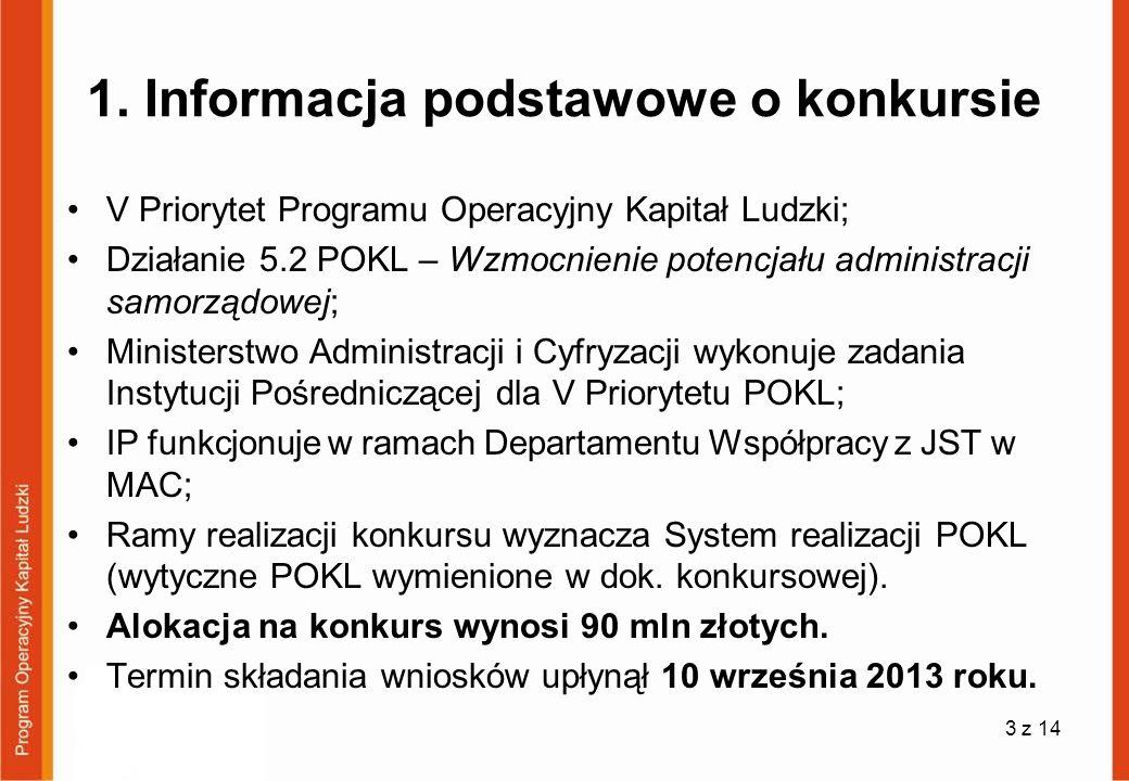 1. Informacja podstawowe o konkursie V Priorytet Programu Operacyjny Kapitał Ludzki; Działanie 5.2 POKL – Wzmocnienie potencjału administracji samorzą