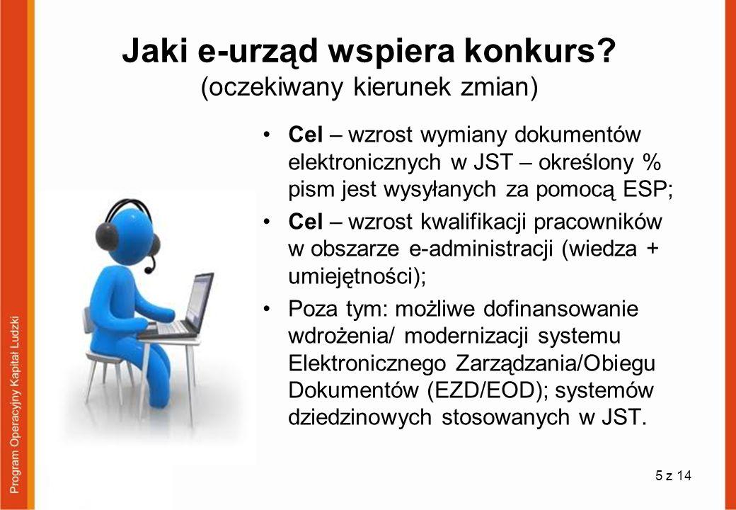 Jaki e-urząd wspiera konkurs? (oczekiwany kierunek zmian) Cel – wzrost wymiany dokumentów elektronicznych w JST – określony % pism jest wysyłanych za