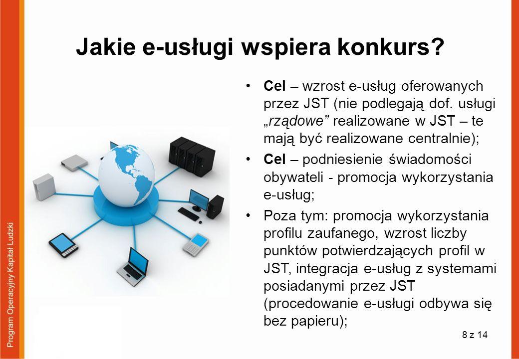 Jakie e-usługi wspiera konkurs? Cel – wzrost e-usług oferowanych przez JST (nie podlegają dof. usługirządowe realizowane w JST – te mają być realizowa