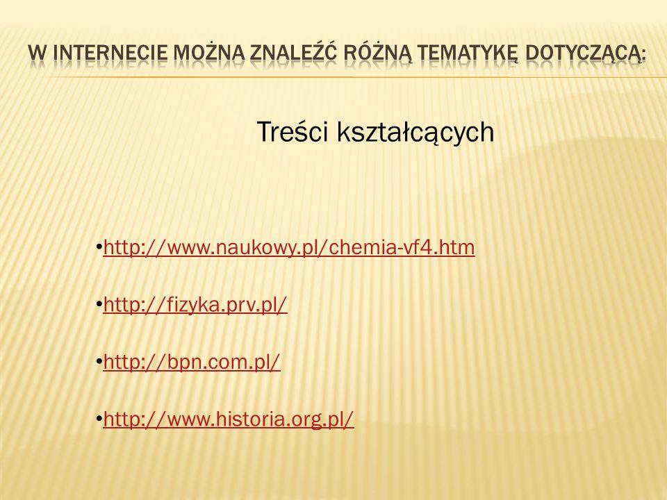 Treści kształcących http://www.naukowy.pl/chemia-vf4.htm http://fizyka.prv.pl/ http://bpn.com.pl/ http://www.historia.org.pl/