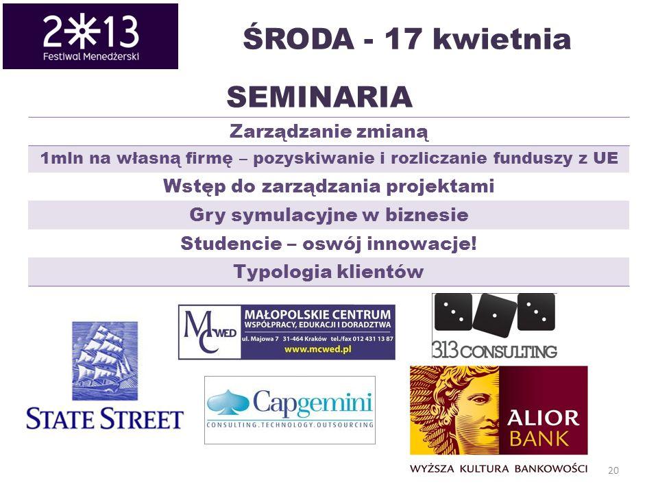 20 SEMINARIA Zarządzanie zmianą 1mln na własną firmę – pozyskiwanie i rozliczanie funduszy z UE Wstęp do zarządzania projektami Gry symulacyjne w biznesie Studencie – oswój innowacje.