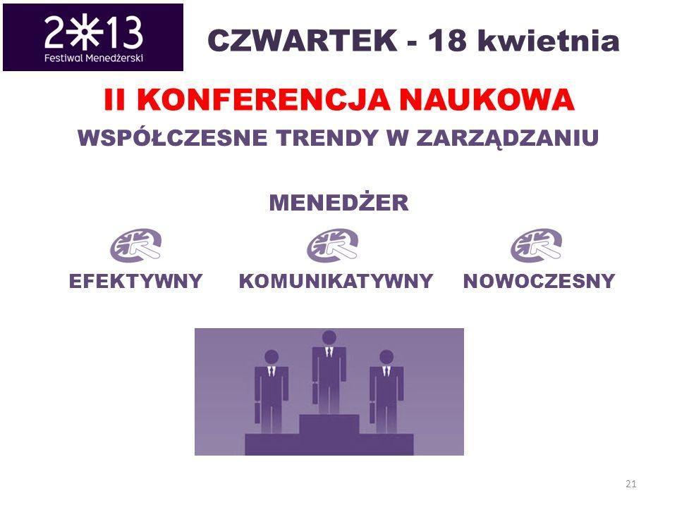 CZWARTEK - 18 kwietnia 21 II KONFERENCJA NAUKOWA EFEKTYWNYKOMUNIKATYWNYNOWOCZESNY WSPÓŁCZESNE TRENDY W ZARZĄDZANIU MENEDŻER
