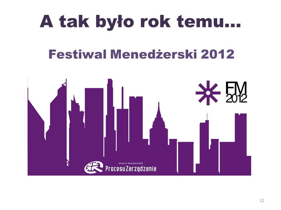 A tak było rok temu… 22 Festiwal Menedżerski 2012