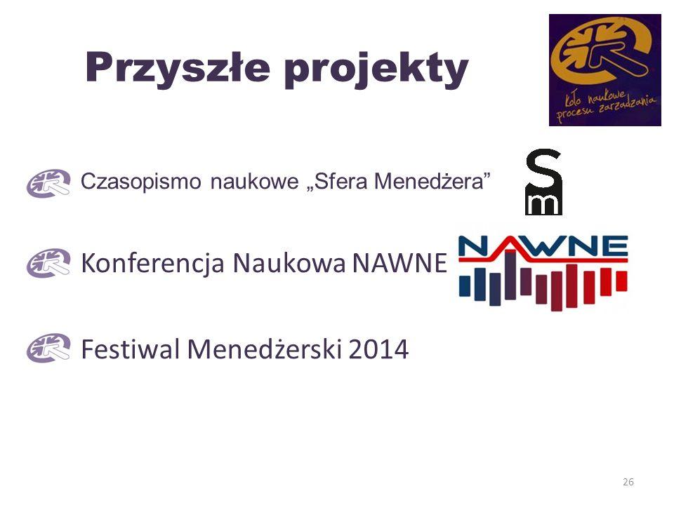 Przyszłe projekty Czasopismo naukowe Sfera Menedżera Konferencja Naukowa NAWNE Festiwal Menedżerski 2014 26