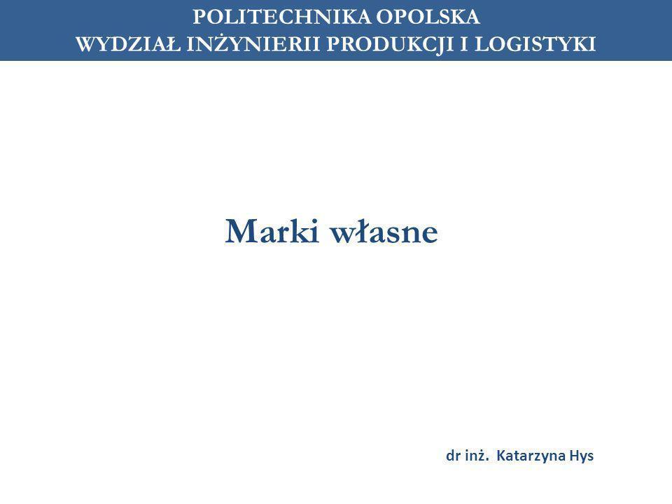Marki własne POLITECHNIKA OPOLSKA WYDZIAŁ INŻYNIERII PRODUKCJI I LOGISTYKI dr inż. Katarzyna Hys