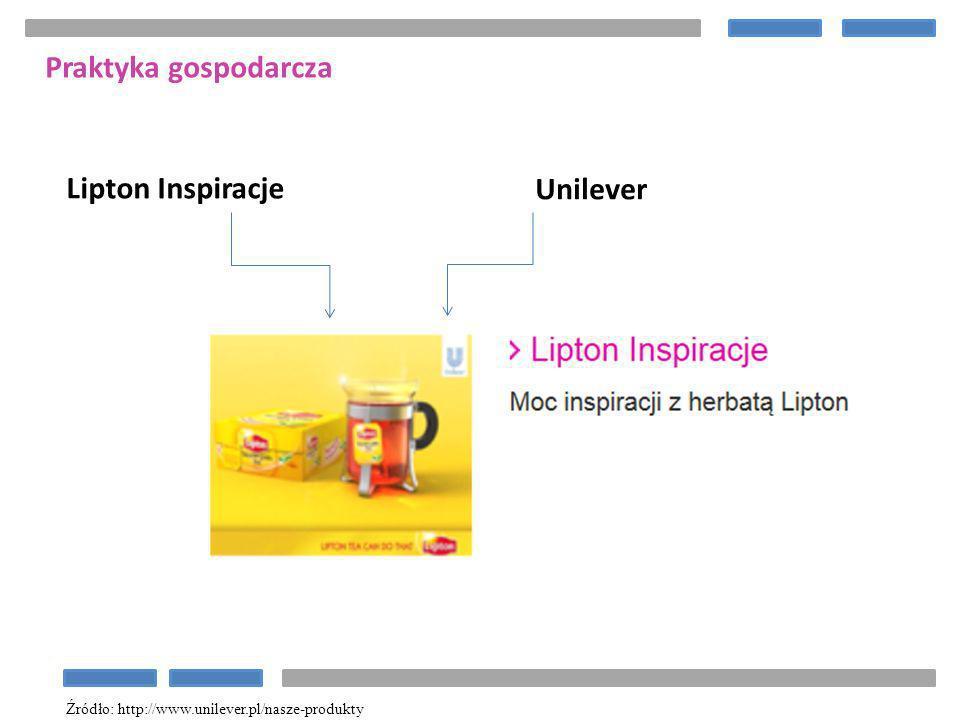 Unilever Lipton Inspiracje Praktyka gospodarcza Źródło: http://www.unilever.pl/nasze-produkty