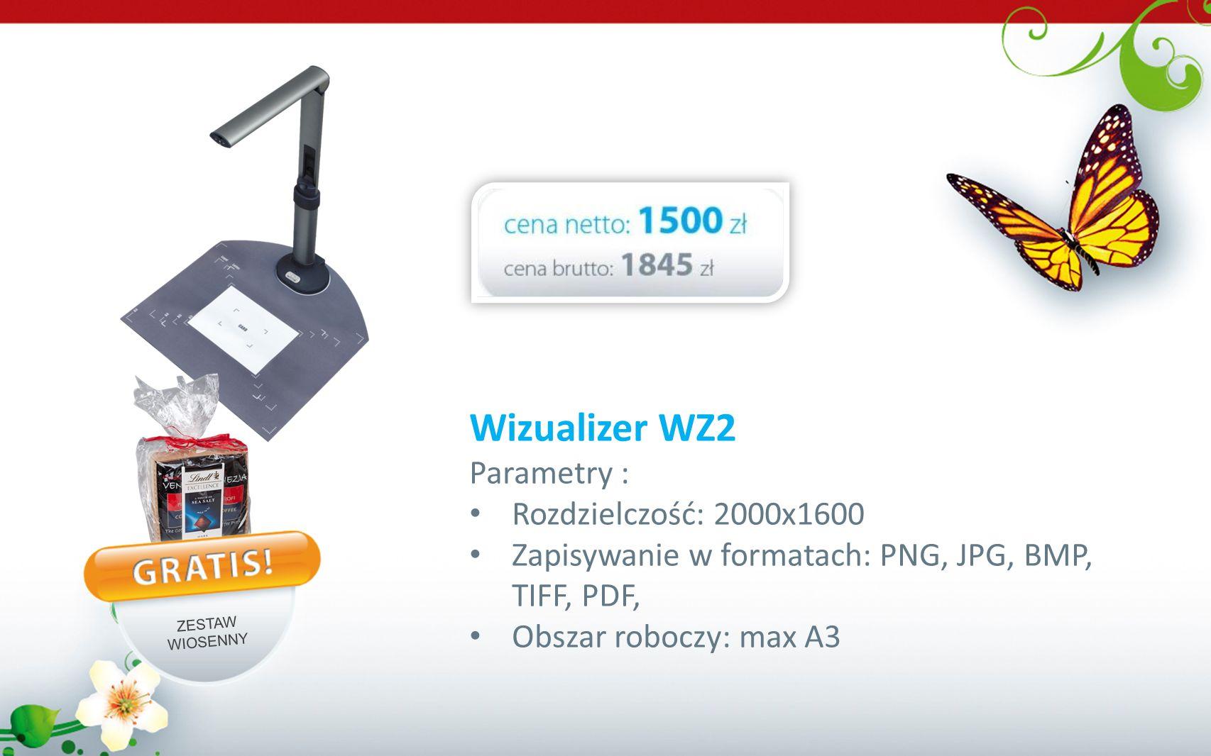 Wizualizer WZ2 Parametry : Rozdzielczość: 2000x1600 Zapisywanie w formatach: PNG, JPG, BMP, TIFF, PDF, Obszar roboczy: max A3 ZESTAW WIOSENNY