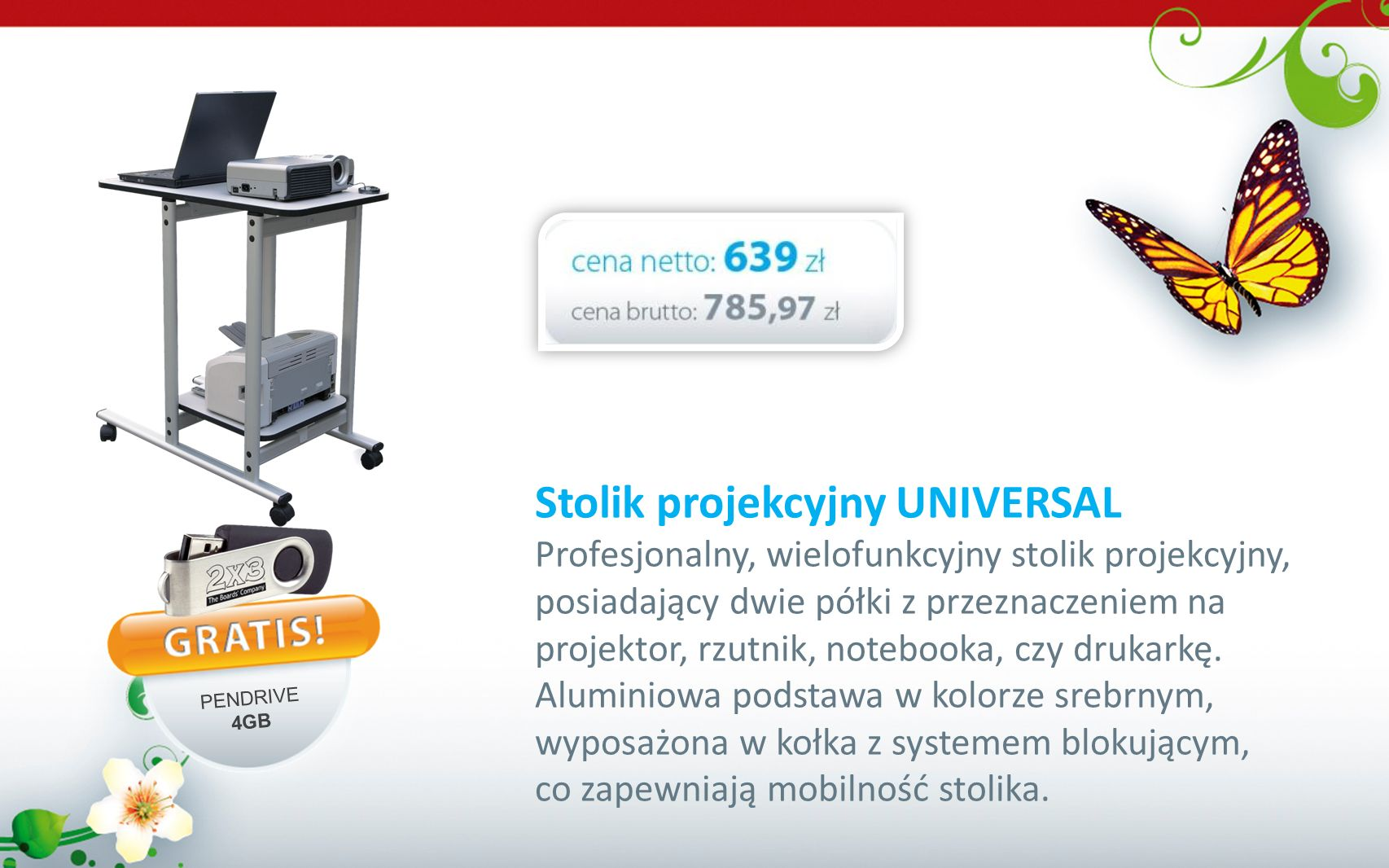Stolik projekcyjny UNIVERSAL Profesjonalny, wielofunkcyjny stolik projekcyjny, posiadający dwie półki z przeznaczeniem na projektor, rzutnik, notebook
