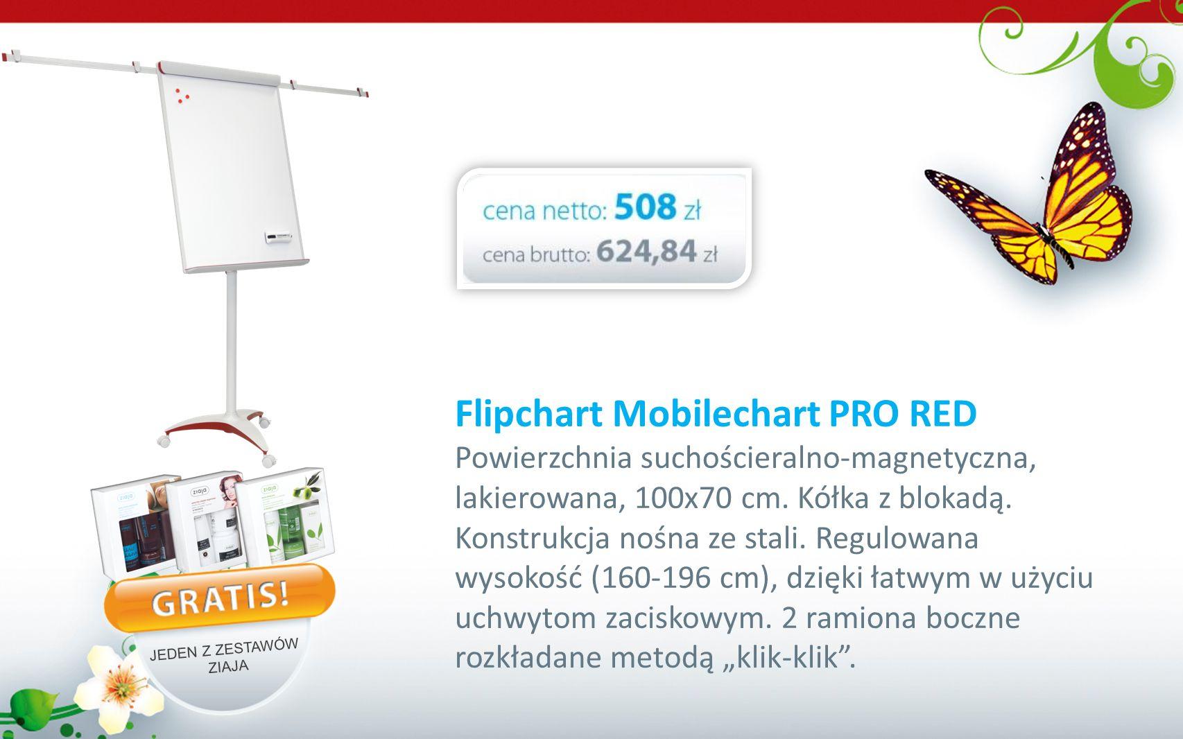 Flipchart Mobilechart PRO RED Powierzchnia suchościeralno-magnetyczna, lakierowana, 100x70 cm. Kółka z blokadą. Konstrukcja nośna ze stali. Regulowana