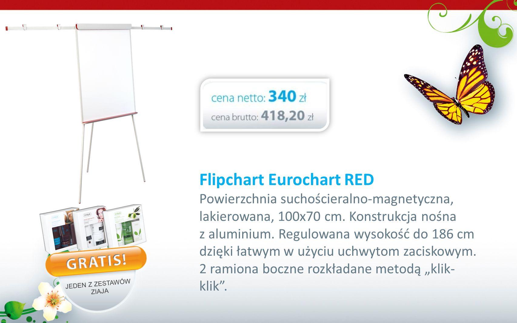 Flipchart Eurochart RED Powierzchnia suchościeralno-magnetyczna, lakierowana, 100x70 cm. Konstrukcja nośna z aluminium. Regulowana wysokość do 186 cm