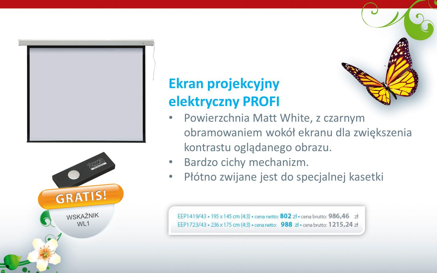 Ekran projekcyjny elektryczny PROFI Powierzchnia Matt White, z czarnym obramowaniem wokół ekranu dla zwiększenia kontrastu oglądanego obrazu. Bardzo c