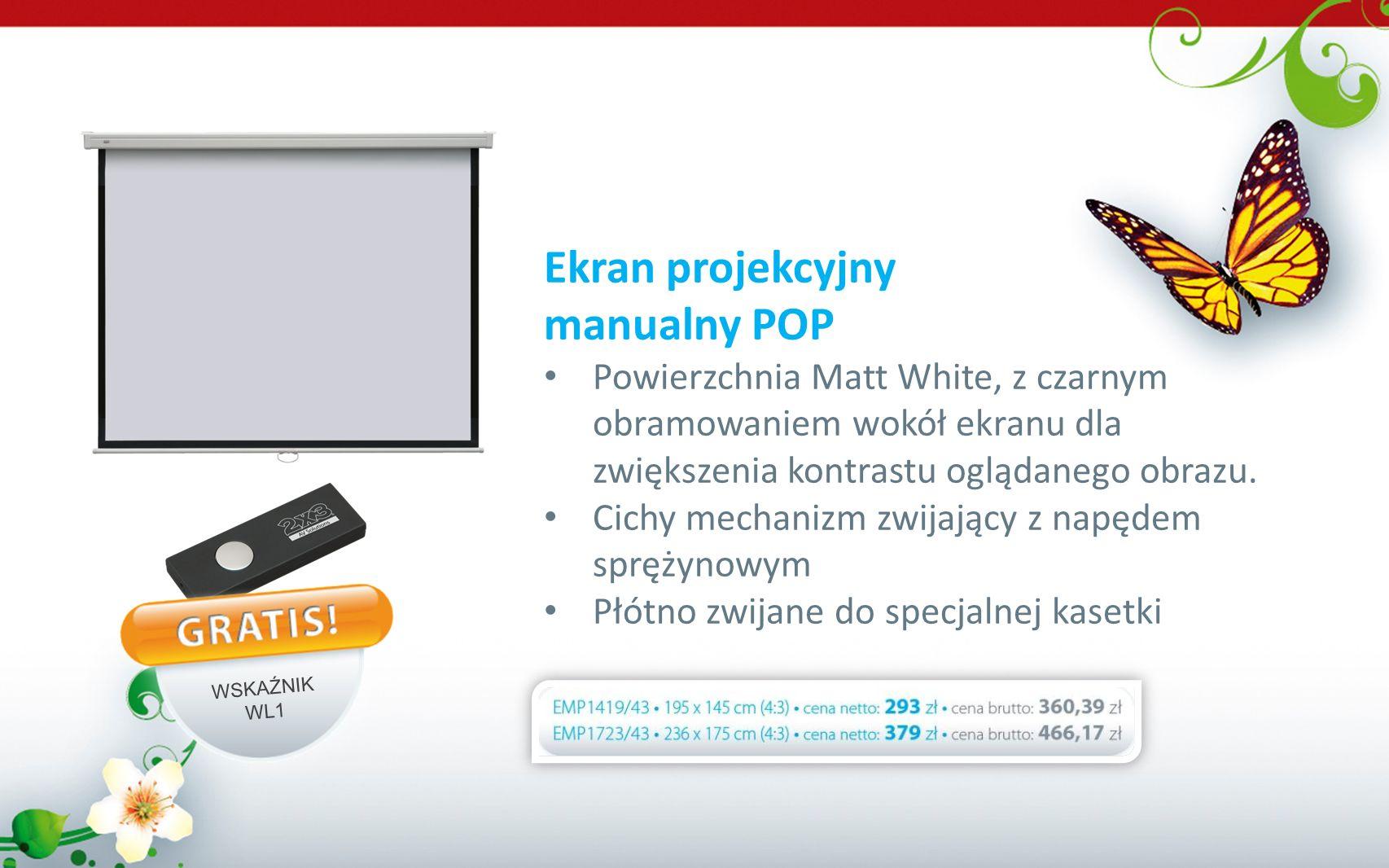 Ekran projekcyjny manualny POP Powierzchnia Matt White, z czarnym obramowaniem wokół ekranu dla zwiększenia kontrastu oglądanego obrazu. Cichy mechani